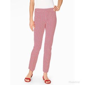 Talbots Red Chatham Ankle Pant Scallop Print NWT